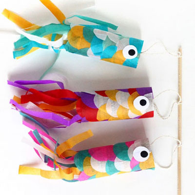 Fun fish wind toy from toilet paper tubes
