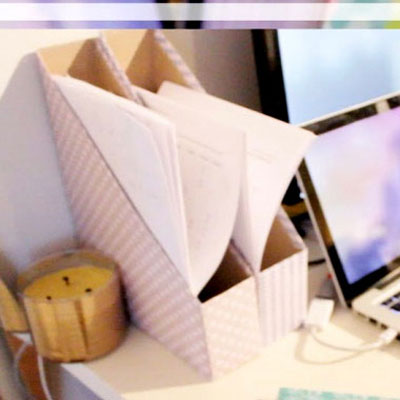 DIY cereal box magazine holder - desk organization