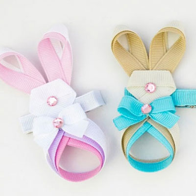 Easter bunny ribbon and rhinestone hair clip