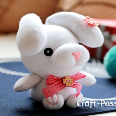 DIY Sock droopy-ear bunny soft toy