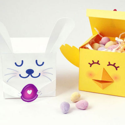 Bunny and chick - easter treat boxes ( printable )