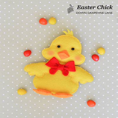 Felt easter chick with ribbon (with template)
