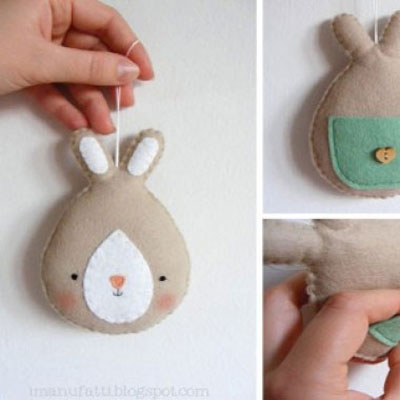 DIY felt easter bunny ornament with a little pocket