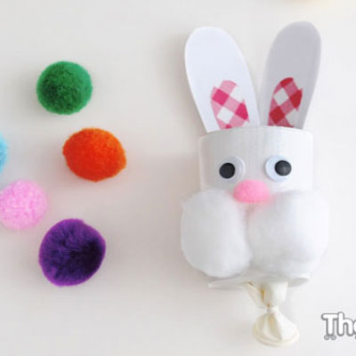 Toilet roll easter bunny pompom popper ( pompom shooter )