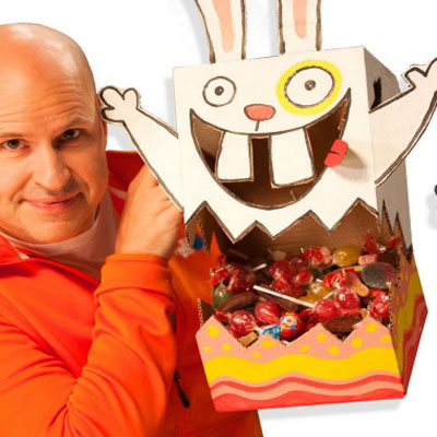 DIY Easter bunny candy dispenser box from cardboard box