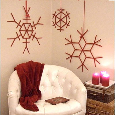 Giant DIY craft stick snowflakes - popsicle stick craft