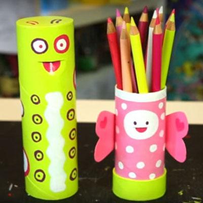 DIY transforming caterpillar - butterfly pencil case