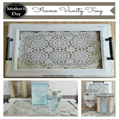 DIY framed lace tray - upcycling picture frames