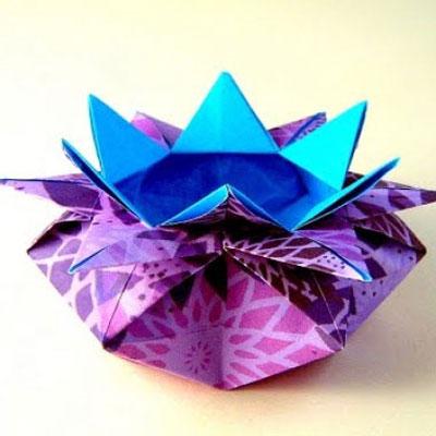 Easy flower origami box ( basket ) - paper folding
