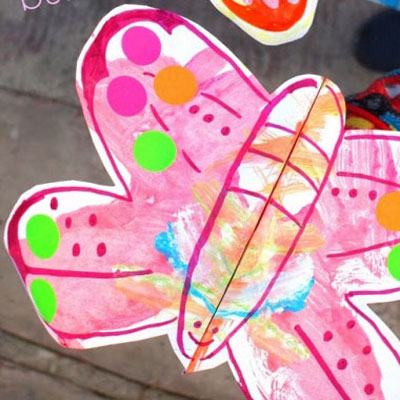 Colorful fluttering paper butterflies