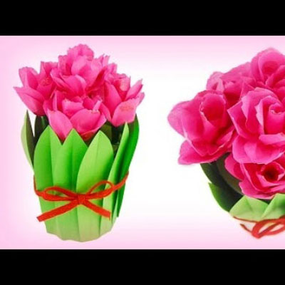 Paper tulip bouguet gift box from a tin can