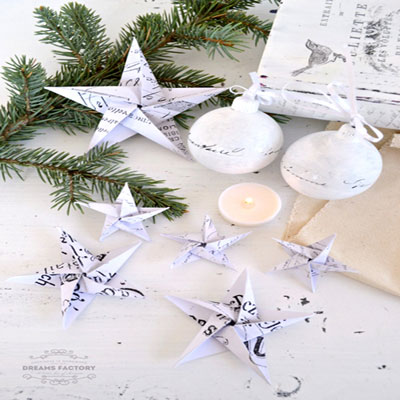 Easy origami paper star Christmas tree ornament (paper folding tutorial)