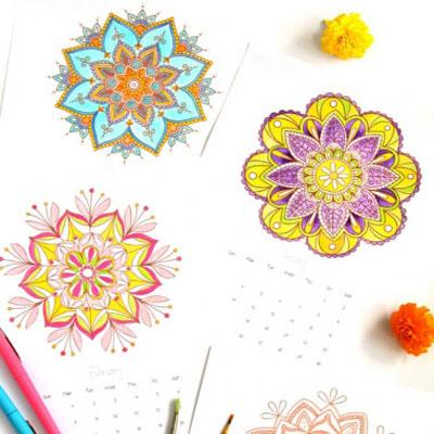 2016 colorable mandala calendar (mandala coloring pages)