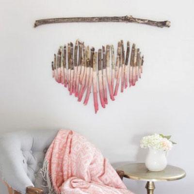 DIY Heart shaped painted tree branch art