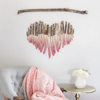 DIY Heart shaped painted tree branch art
