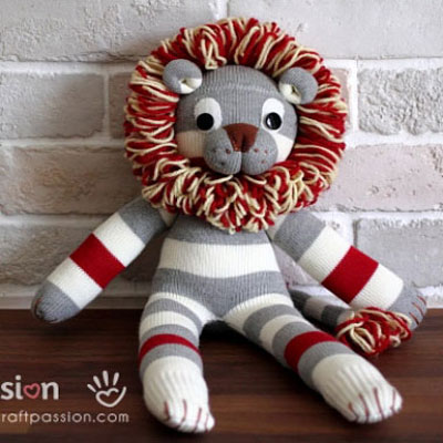DIY sock lion ( with sewing pattern )