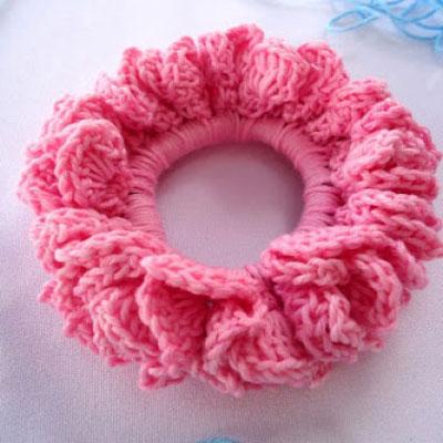 Crochet hair scrunchie tutorial
