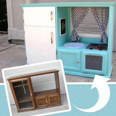 Toy kitchen from and old Tv cabinet