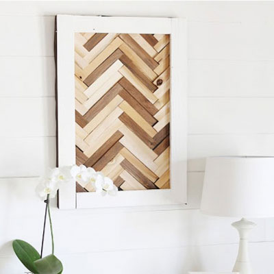 DIY heringbone pattern wall art from old wooden floor