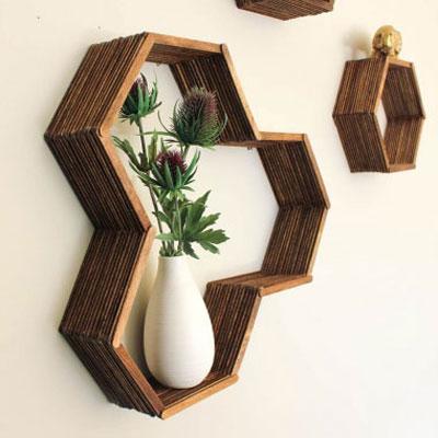 DIY hexagon (honeycomb) shelves from popsicle sticks