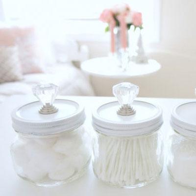 DIY mason storage jars with furniture knobs