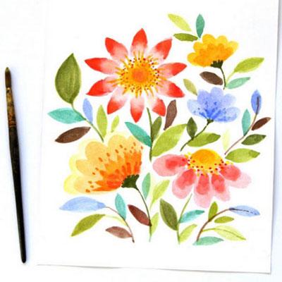 Watercolor spring flowers ( step-by-step painting tutorial )