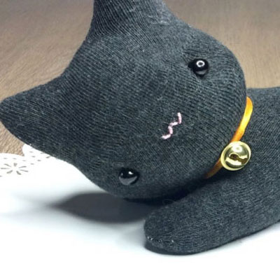 DIY halloween black cat plushie from socks