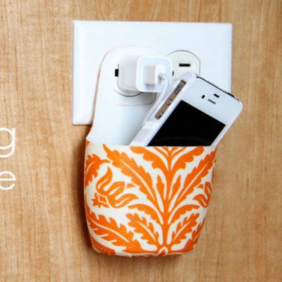 DIY holder for charging cell phone - from a lotion bottle