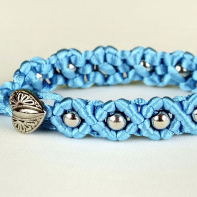 DIY easy wave flower bracelet with beads (macrame)