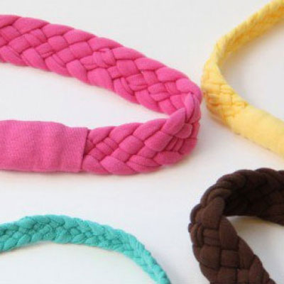 Repurposed 5 strand braided headbands from old Tshirts
