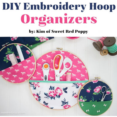 DIY Fabric pocket embroidery hoop organizer