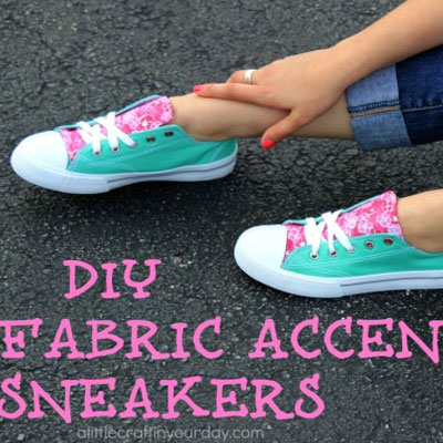 DIY fabric accent sneakers