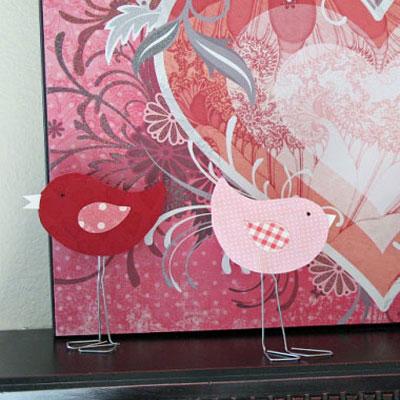 DIY paper clip love birds