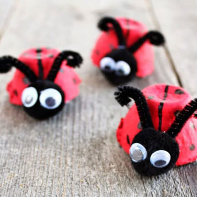Ladybugs from recycled egg cartons