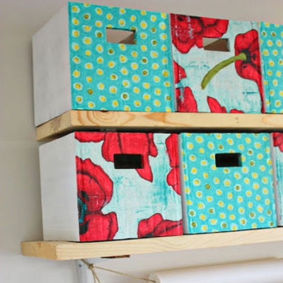 DIY fabric covered cardboard storage boxes