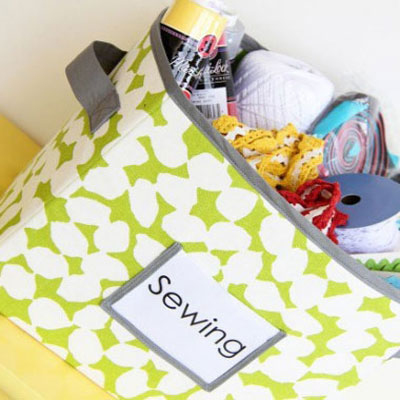 DIY sewn fabric storage boxes