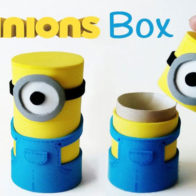 DIY craft foam minion boxes from toilet paper tubes
